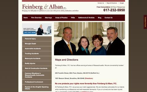 Screenshot of Maps & Directions Page feinbergalban.com - Directions to the Boston Personal Injury Law Firm of Feinberg & Alban - captured Oct. 5, 2014
