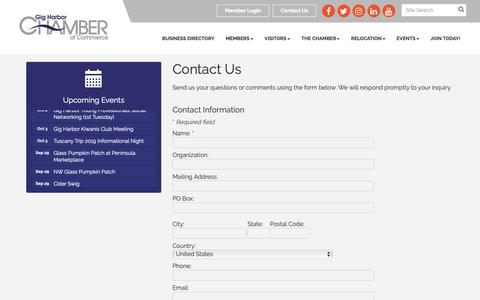 Screenshot of Contact Page gigharborchamber.net - Contact Us - Gig Harbor Chamber of Commerce, WA - captured Sept. 28, 2018