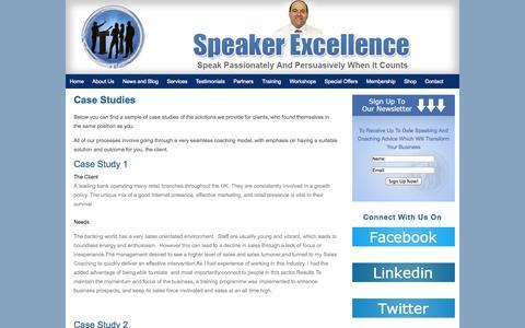 Screenshot of Case Studies Page speakerexcellence.com - Case Studies | Speaker Excellence - captured Sept. 30, 2014