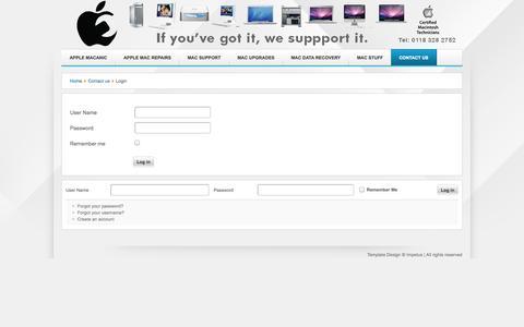 Screenshot of Login Page macanic.co.uk - Login - captured Oct. 4, 2014