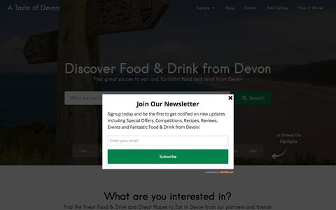 Screenshot of Home Page atasteofdevon.co.uk - A Taste of Devon - captured Nov. 11, 2016