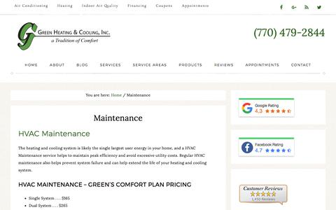 HVAC Maintenance by Green Heating and Cooling - Canton GA