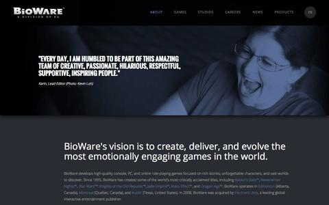 Screenshot of About Page bioware.com - About | BioWare - captured Sept. 18, 2014