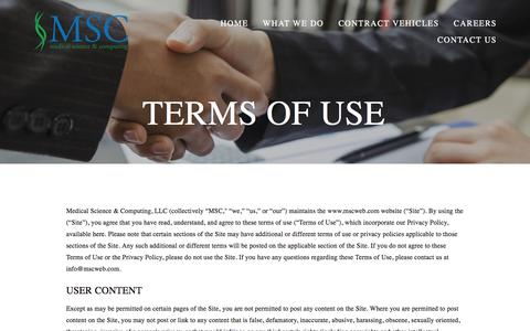 Screenshot of Terms Page mscweb.com - Terms of Use — MSC - captured Oct. 18, 2017