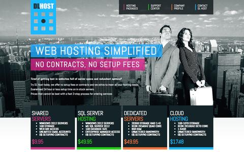 Screenshot of Home Page dlhost.com - DL Host - Web Hosting Simplified - captured Sept. 30, 2014