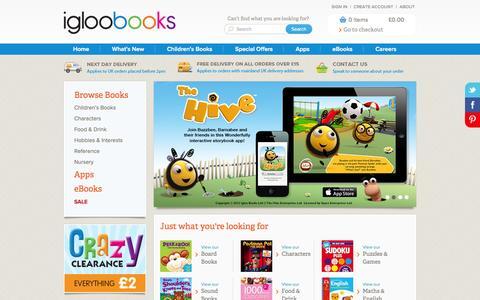 Screenshot of Home Page igloobooks.com - Igloo Books - captured Sept. 25, 2014
