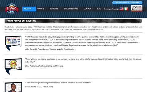 Screenshot of Testimonials Page hvac-tech.com - Testimonials | HVAC Tech - captured Oct. 16, 2016