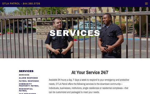 Screenshot of Services Page dtlapatrol.com - services — DTLA Patrol - 844.385.2728 - captured Feb. 9, 2016