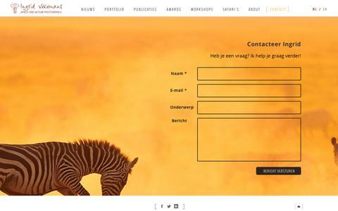 Screenshot of Contact Page ingridvekemans.com - Contact | Ingrid Vekemans - captured Feb. 11, 2016