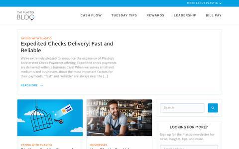 Screenshot of Blog plastiq.com - Plastiq Blog - captured Aug. 16, 2019