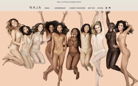 Screenshot of Home Page naja.co - Naja | Premium Lingerie with a Social Impact. Do-Good Underwear. - captured May 23, 2016