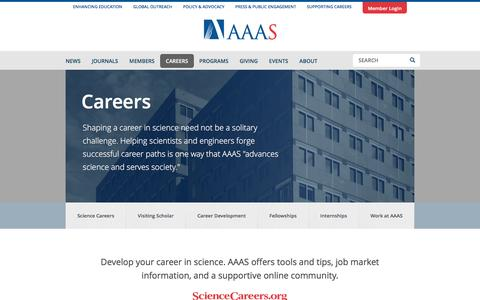 Screenshot of Jobs Page aaas.org - Careers | AAAS - The World's Largest General Scientific Society - captured May 4, 2017