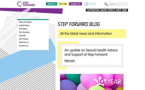 Screenshot of Blog step-forward.org - The Step Forward Blog | Step Forward (Tower Hamlets) | Young People's Charity East London – Free Support Services – Counselling, Wellbeing & Mental Health, LGBTQ | Supporting young people since 1988 - captured Oct. 20, 2018