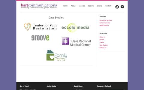 Screenshot of Case Studies Page hart-communications.com - Hart Communications - Marketing, Communications, Public Relations - with more than 20 years experience in our field. Homepage - Welcome - captured Sept. 29, 2014