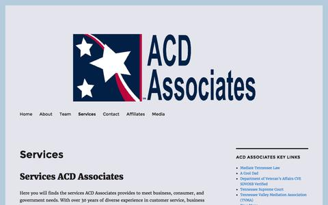 Screenshot of Services Page acdassociates.com - Services ACD Associates | SDVOSB | Consulting | Cloud | Web | SEO - captured July 23, 2016