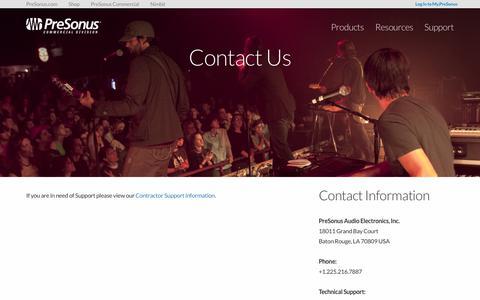 Screenshot of Contact Page presonus.com - Contact Us | PreSonus Commercial Division - captured June 30, 2018