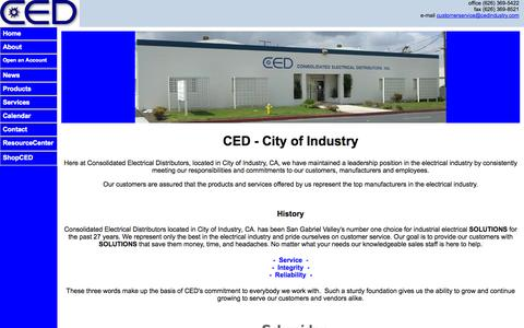 Screenshot of Home Page cedindustry.com - CED Industry | Call Us @ (626) 369-5422 - captured Oct. 3, 2014