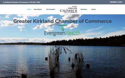 Screenshot of Home Page kirklandchamber.org - Kirkland Chamber of Commerce - Greater Kirkland Chamber of Commerce - captured Nov. 15, 2016