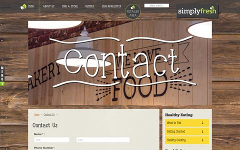 Screenshot of Contact Page simplyfresh.info - Contact Us | simply fresh | convenience just got better - captured Feb. 14, 2016