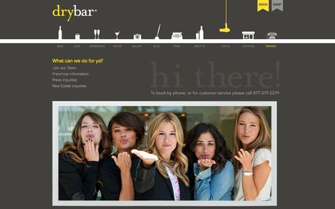 Screenshot of Contact Page thedrybar.com - Contact Us With Your Questions - Drybar, The Premier Blow Out Bar - captured June 17, 2015