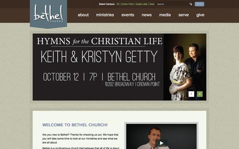 Screenshot of Home Page bethelweb.org - Bethel Church and Ministries - captured Oct. 8, 2014