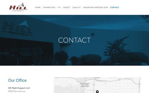 Screenshot of Contact Page hillflightsupport.com - CONTACT — Hill Flight Support, LLC - captured Sept. 28, 2018