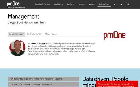 Screenshot of Team Page pmone.com - Management Team und Vorstand der pmOne AG - captured Sept. 30, 2018