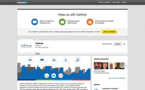 Screenshot of LinkedIn Page linkedin.com - CalAmp | LinkedIn - captured Nov. 14, 2015