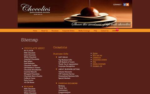 Screenshot of Site Map Page chocolics.com - Chocolics Sitemap Handmade Chocolates in India Delhi Mumbai Bangalore - captured May 24, 2017