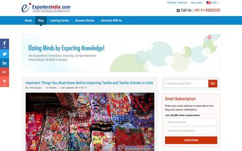 Screenshot of Blog exportersindia.com - B2B Marketplace - Guide & Research Centre   ExportersIndia.com Blog - captured May 23, 2017