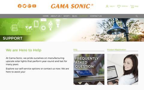 Screenshot of Support Page gamasonic.com - Support - Gamasonic Solar Lighting - captured Oct. 26, 2016