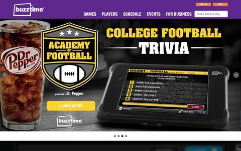 Screenshot of Home Page buzztime.com - Buzztime | Bar Trivia, Live Trivia, Cards & Sports Games - captured Dec. 17, 2015