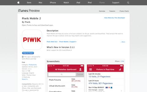 Screenshot of iOS App Page apple.com - Piwik Mobile 2 on the App Store on iTunes - captured Oct. 22, 2014