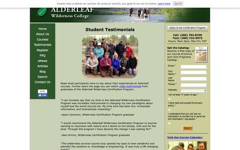 Screenshot of Testimonials Page wildernesscollege.com - Student Testimonials - captured Sept. 23, 2018
