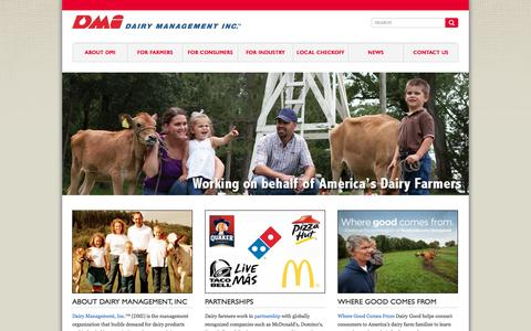 Screenshot of Home Page dairy.org - Dairy Management Inc. - captured Oct. 5, 2014