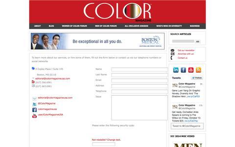 Screenshot of Contact Page colormagazineusa.com - Color Magazine - captured Oct. 2, 2014