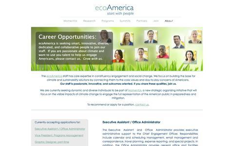 Screenshot of Jobs Page ecoamerica.org - Jobs   ecoAmerica - captured Sept. 18, 2014