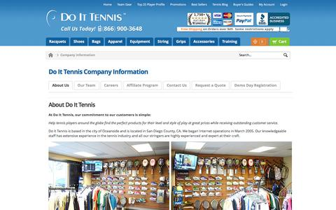 Screenshot of About Page Contact Page Team Page doittennis.com - Company Information DoItTennis - captured Jan. 7, 2016