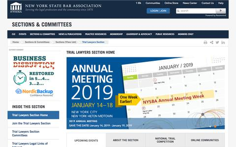 Screenshot of Trial Page nysba.org - NYSBA   Trial Lawyers Section Home - captured Sept. 23, 2018