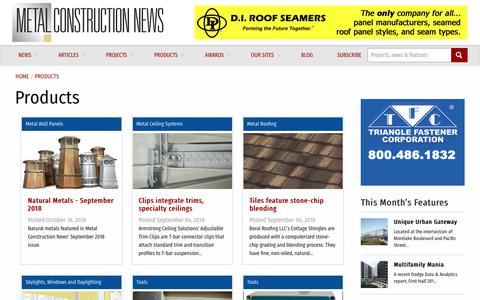 Screenshot of Products Page metalconstructionnews.com - Products | Metal Construction News - captured Oct. 18, 2018