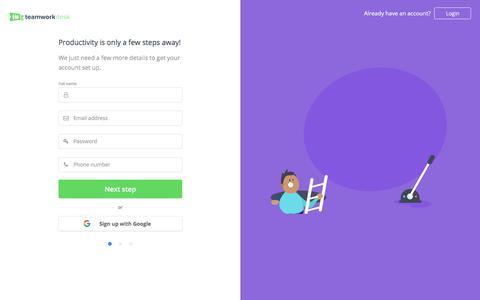 Screenshot of Signup Page teamwork.com - Sign up for Teamwork Desk - Teamwork.com - captured July 5, 2018