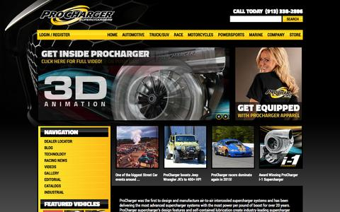 Screenshot of Home Page procharger.com - ProCharger Self-contained Superchargers and Intercooled Supercharging Systems - captured June 18, 2015