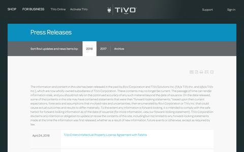 Screenshot of Press Page tivo.com - Press Releases | TiVo - captured April 29, 2018