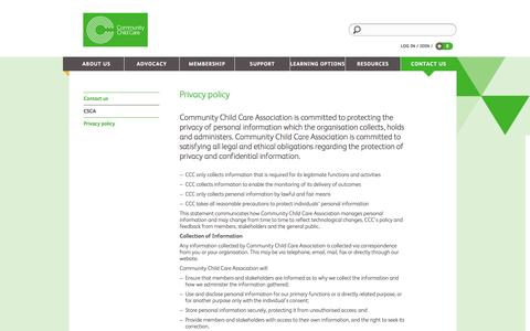 Screenshot of Privacy Page cccinc.org.au - Community Child Care Contact us Privacy policy - captured Oct. 2, 2014