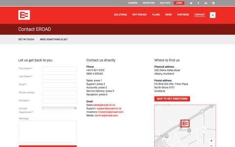 Screenshot of Contact Page eroad.co.nz - Contact EROAD | EROAD - captured July 11, 2017
