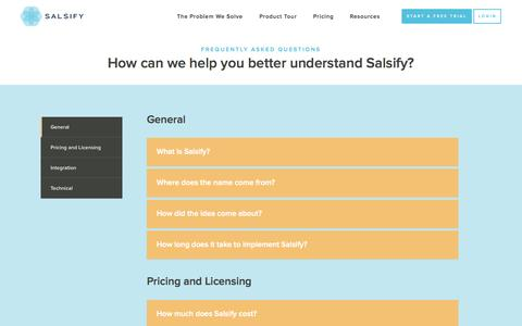 Screenshot of FAQ Page salsify.com - Frequently Asked Questions about Salsify - captured July 3, 2015