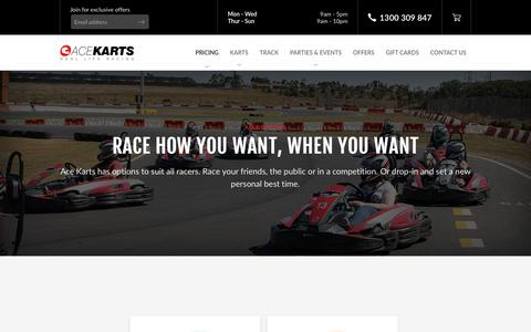 Screenshot of Pricing Page acekarts.com.au - Outdoor Go Karting | Race Options | Book Online - captured July 29, 2018