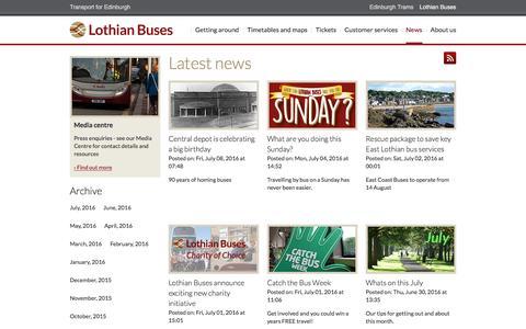 Screenshot of Press Page lothianbuses.com - News - Lothian Buses - captured July 13, 2016