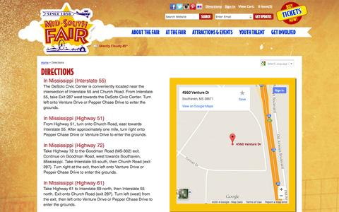 Screenshot of Maps & Directions Page midsouthfair.com - Directions - captured Oct. 6, 2014
