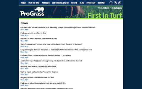 Screenshot of Press Page prograssturf.com - ProGrass News: Artificial turf and synthetic turf system - captured Oct. 3, 2014
